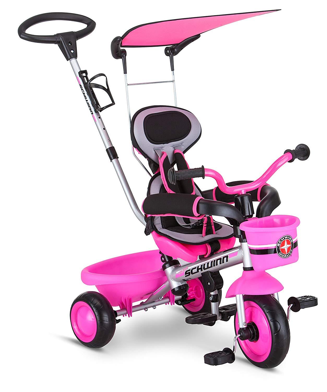 Schwinn Roadster Kids Tricycle, Easy Steer 4 in 1 Tricycle, Pink