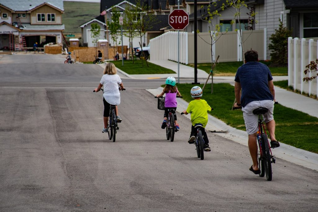 Cycling with kids.